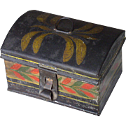 Rare American Miniature Tole Painted Tin Trinket or Jewelry Box, Early 19th century