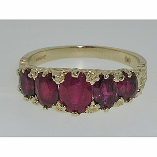 Fabulous Solid 14K Yellow Gold Five Stone Natural Ruby Ring