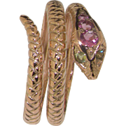 Solid 9K Rose Gold Double Wrap Snake Ring Handset with Natural Pink Tourmaline and Peridot Gemstones