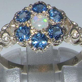 Solid 925 Sterling Silver Natural Opal and Light Blue Sapphire Daisy Ring