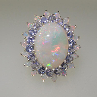 Solid 9K White Gold Cluster Ring Handset with Natural Australian Opals and Natural Tanzanite Gemstones