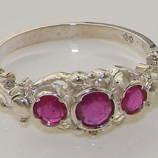 Ornate Solid 925 Sterling Silver Natural Ruby Ring