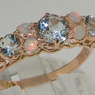 Stunning 9K Rose Gold Natural Aquamarine & Opal
