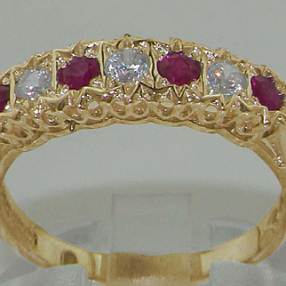 Stunning Solid 9K Yellow Gold Diamond and Ruby Ornate Half Eternity Ring
