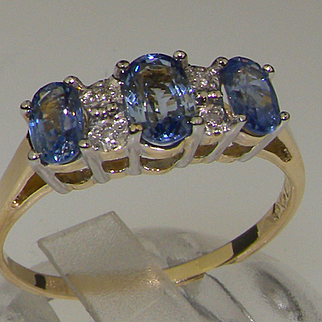 Stunning 9K Yellow Gold Ceylon Sapphire & Diamond Trilogy Ring with Rhodium Plated Claws