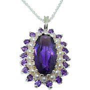 Elegant Genuine Large Amethyst & Cultured Freshwater Pearl 925 Solid Sterling Silver 3 Tier Cluster Flower Pendant Necklace