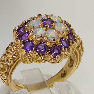 Stunning Solid 9K Yellow Gold Large Natural Amethyst & Fiery Opal Cluster Cocktail Ring