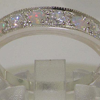 Solid 14K White Gold Natural Diamond & Opal Half Eternity Ring