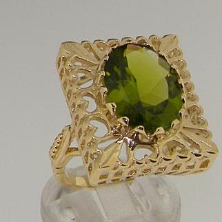 Elegant 9K Yellow Gold Large Rectangular Heart 8.32ct Natural Oval Cut Peridot Solitaire Ring