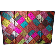 Vintage India Rajasthan Ethnic Throw Handmade Embroidered Silk Sari Patchwork Tapestry Wall Hanging Bohemian Table Runner
