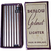 Benlow Golmet Light Gold Tone Petrol Pocket Cigarette Cigar Lighter Made In England With Original Box