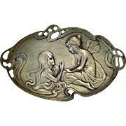 Antique Art Nouveau Thick Tray Butterfly Girl speaking mermaid copper and silver