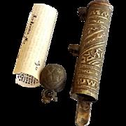 Islamic Koran Scroll Amulet Judaica Mezuza,Antique Turkmenistan Talisman Pray Box