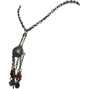 Antique Yemenite Necklace Filigree Silver and Amber beads 19th Century Yemen Authentic Jewelry