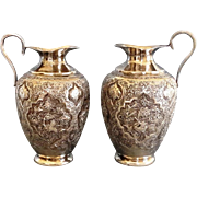 Islamic Silver vases Antique Middle East Engraved Mesopotamia area Pair pitcher 19thC