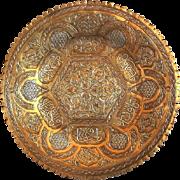 Antique Islamic Copper Tray Large Plate Mameluke revival rare Petal edge Damascene silver inlay