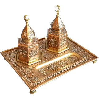 Antique Islamic Inkwell Mamluk Double ink jar and tray Arab Silver inlaid copper Damascene work