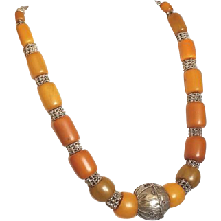 Yemenite Necklace Islamic Antique Bakeltie Amber and Silver Beads Middle East Jewelry