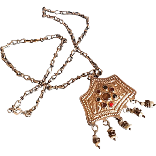 Antique Islamic Brooch Necklace Mother pearl and Granulated silver Yemenite beaded elements.