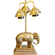 Islamic Heavy Brass Elephant lamp Silver inlay Antique Mameluke Revival trio Chandelier