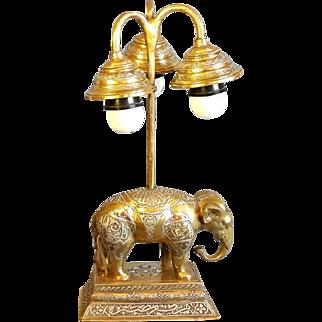 Islamic Heavy Brass Elephant lamp Silver inlay Antique Mameluke Revival trio Chandelier