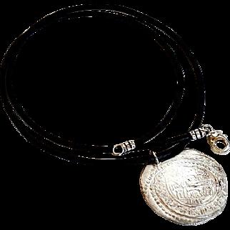 Antique Islamic Silver Coin Pendant Pre 16th C. Genuine Leather Necklace 925 Clasp