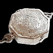 Antique Islamic Koran silver 800 Box Octagonal Arabic Inscribed Good Luck Amulet