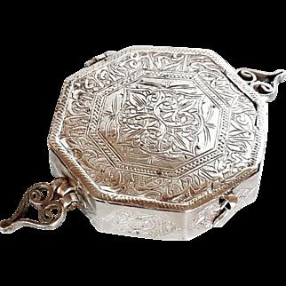 Antique Islamic Koran silver 800 Box Octagon Arabic Inscribed Good Luck Amulet