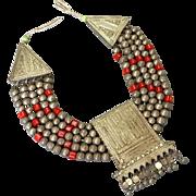 Antique Massive Yemenite Necklace Silver 500 Islamic Filigree Multi-strand ethnic Jewelry