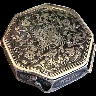 Islamic Koran Amulet Box Antique 19thC Silver 800 niello inlay Jewelry Miniature Quran case