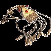 Antique Turkmenistan Islamic Necklace Turkmen Silver Gilded Pendant Carnelian