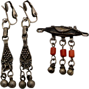 Antique Islamic silver coral beads brooch & clip earrings middle east