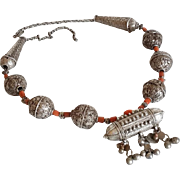 Antique Yemenite Necklace Coral,Granulated beads filigree balls Silver Islamic yemen Amulet Jewelry