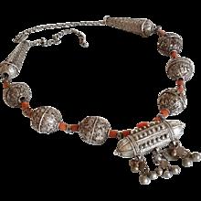 Antique Yemenite Necklace Coral,Granulated beads filigree balls Silver Islamic yemen Amulet Jewelry