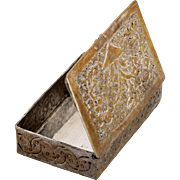 Antique Islamic Silver Box Bukhara 18th Century Etched Pill box Flower Engraving