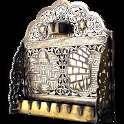 Bronze Hanukkah Menorah 1930's copper Hanukkia Damascus work silver gold inlay