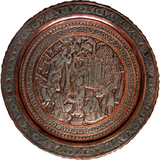 Old Islamic copper Tray Arab Etched Embosed tin figures decorative plate