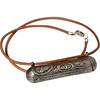 Antique Islamic Silver Scroll box Amulet flower etched Leather Necklace.