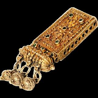 Antique Islamic Gilded Silver filigree Amulet box Central Yemenite Necklace
