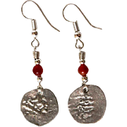 Antique Islamic Coin on Earrings in Sterling Silver & Carnelian bead.