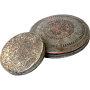 Antique Islamic ornamented Copper Disc shape Boxes tin plated box pair