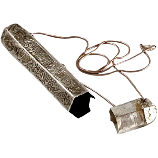 Antique Islamic Amulet box Talisman Etched Silver 700 Calligraphy Pendant