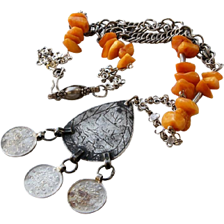 Antique Coin Amulet Pendant Baltic Amber beads Med Silver Chain Necklace