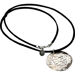 Antique Islamic silver coin Pendant Genuine leather Cord Necklace Choker Samanid