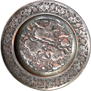 Old Islamic copper Plate tin cover Arab Figures on horses ornamental Etching