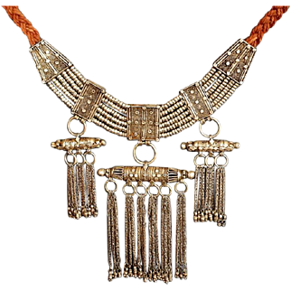 Antique Yemenite 3 Amulet box Necklace Islamic Bridal Med Silver filigree Jewelry