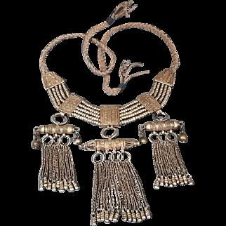 Antique Yemenite Filigree Necklace Islamic Ethnic Talisman Amulet Box Silver 700 Jewelry.312gr