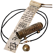 Islamic Antique Amulet case with Parchment,Scroll box Kabbalah Judaica Good Luck Necklace Silver 600