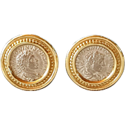 Antique Roman coin Earrings Vintage Gold 14k Earrings Emperors Caracalla and Elagabalus silver Coins