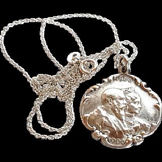 Antique Art Nouveau Pendant 1856-1906 King Wilhelm Friedrich 1st wed.Anni. Silver Necklace